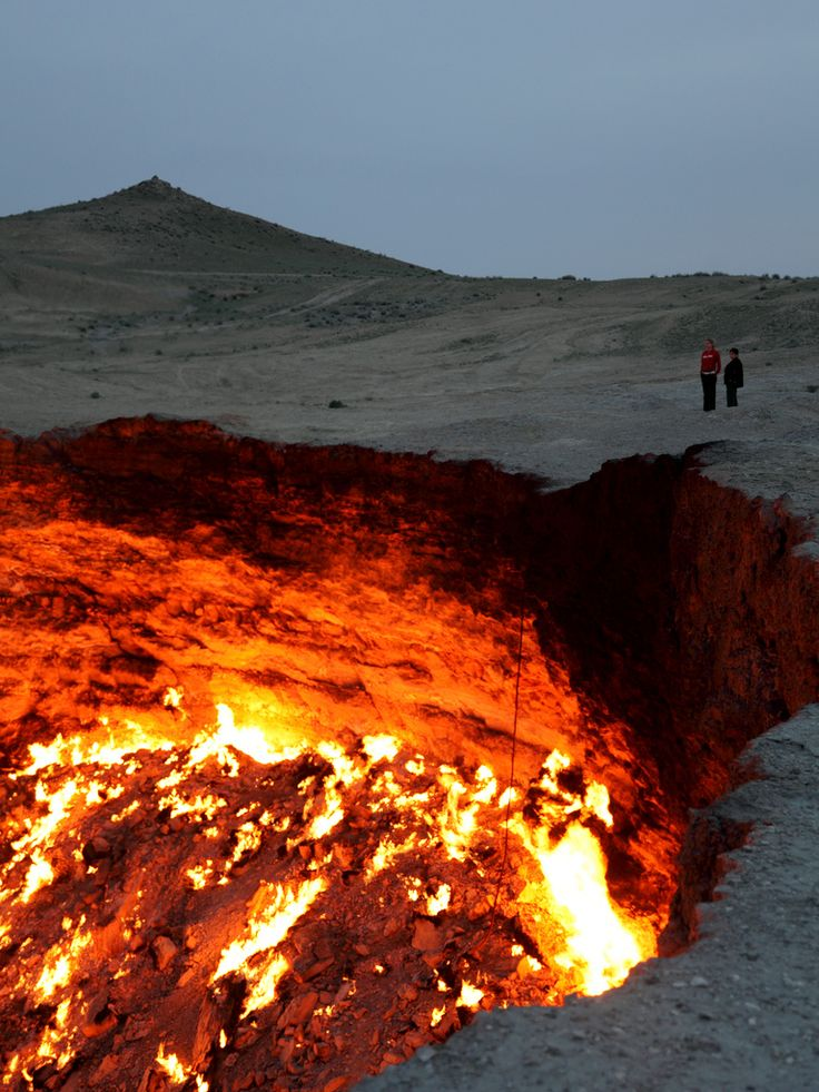 Derweze, also known as the door to hell, is a 70 meter wide hole in the middle of the Karakum desert in Turkmenistan. The hole was formed in 1971 when a team of soviet geologists had their drilling rig collapse when they hit a cavern filled with natural gas. In an attempt to avoid poisonous discharge, they decided to burn it off, thinking that the gas would be depleted in only a few days. Derweze is still burning today.