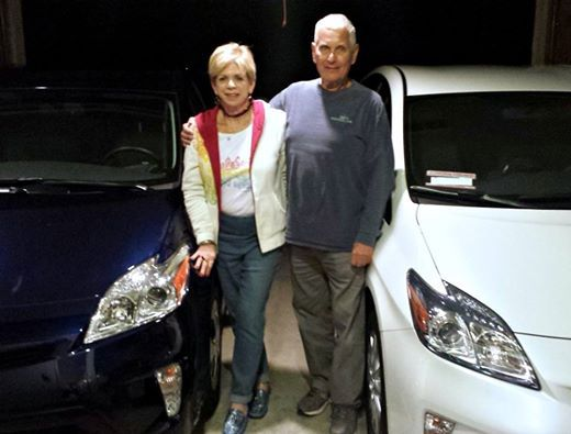 Give it up for Ilene and Stu who are driving away in his and hers Toyota #Prius plug-ins! Now that's love! #ToyotaCarlsbad