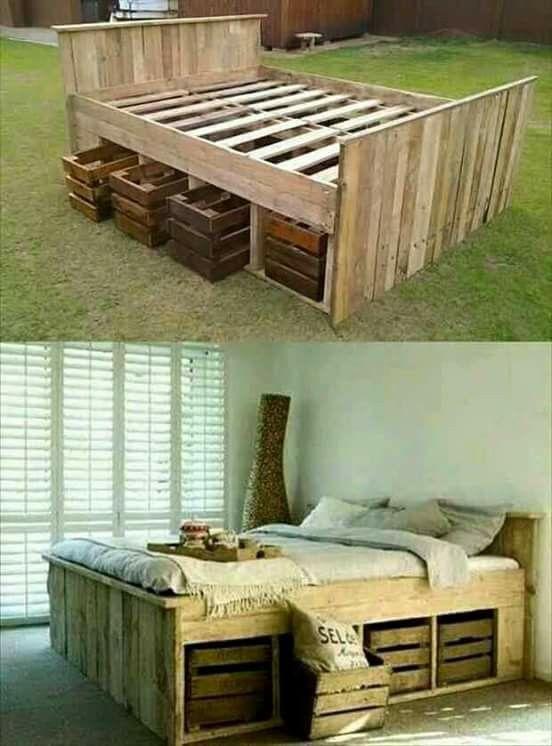Originale et écolo le lit fabrique en bois de palette et caisse de récupération