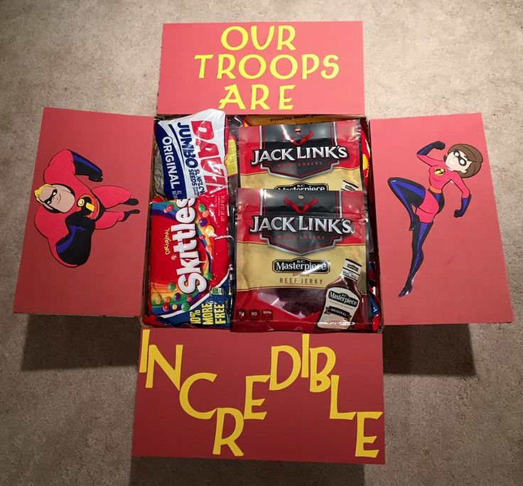 """Our troops are incredible"" Care Package for military - the Incredibles - adopt a soldier - large flat rate box. Made by @krity_cent"