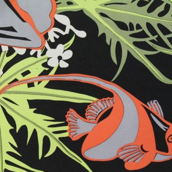 Under Da Sea Designer Silk Crepe de Chine - Green/Apricot on Black - Gorgeous FabricsGorgeous Fabrics