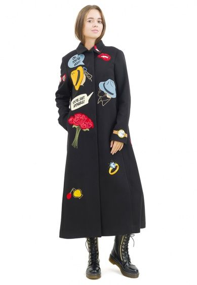Coat in the style of pop-art brand Pavel Yerokin. Embroidery, applique.