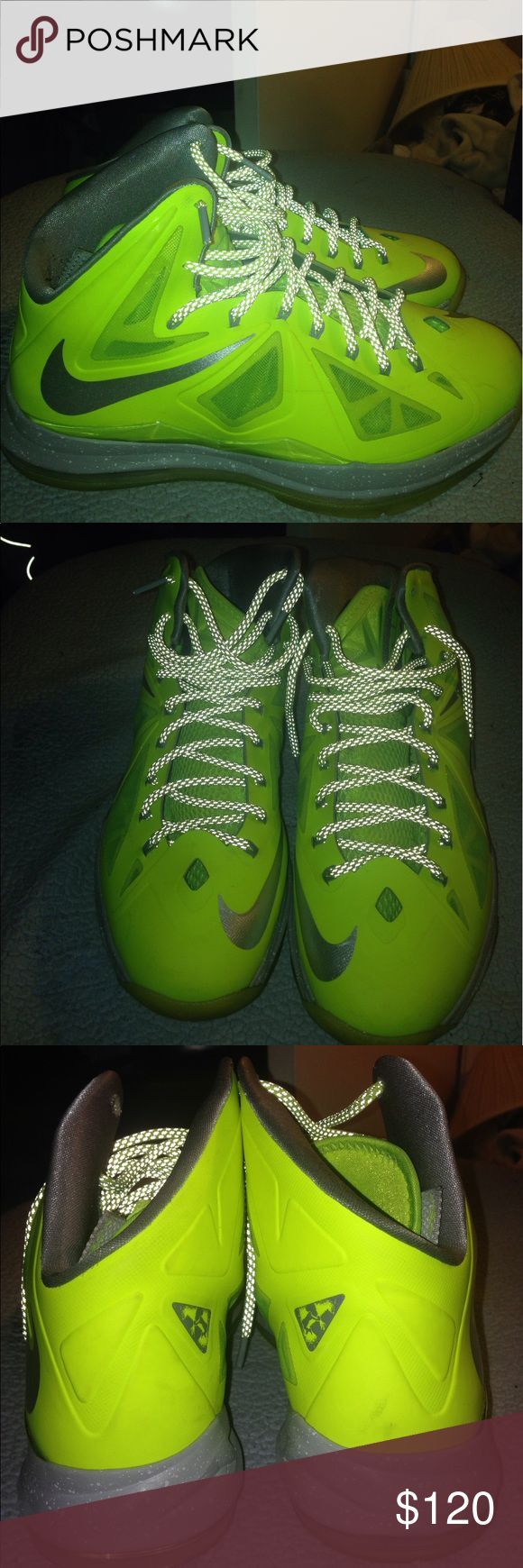 Lebron 10 Volt Edition Mint Condition Rarely Worn Plus The Grip Is Barely Faded Plus They 4 Years Old Nike Shoes Sneakers