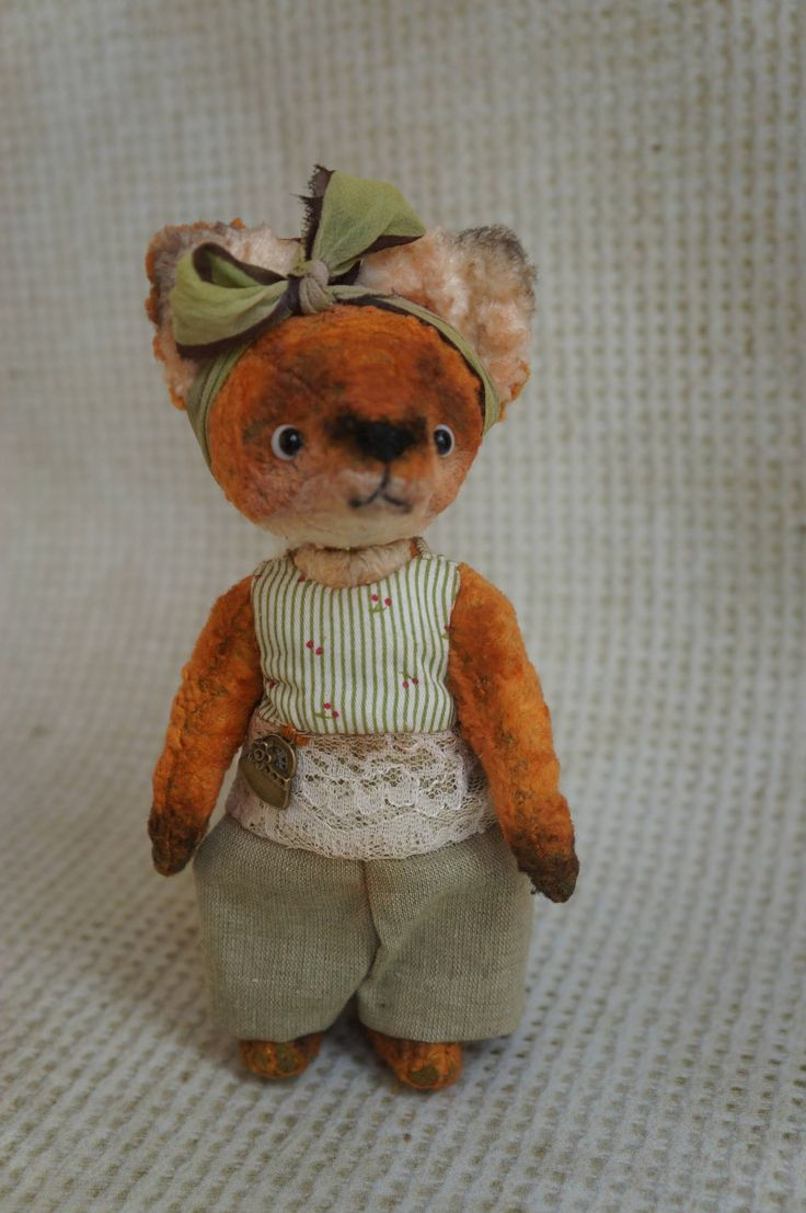 Stuffed Fox Red - Fox animal - OOAK artist teddy fox, Red Fox, OOAK art teddy, bear clown, OOAK art red Fox, Plush red fox, by RussianshawlRustic on Etsy
