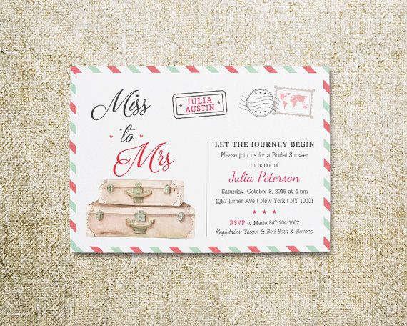 Travel Bridal Shower Travel Invitations Miss to by ViolinEvents