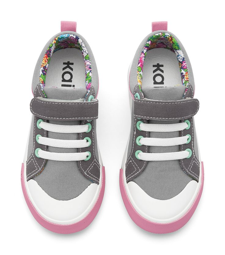 Gray with dark gray and pink accents and a fun floral print lining make  these shoes a must have girls sneaker!