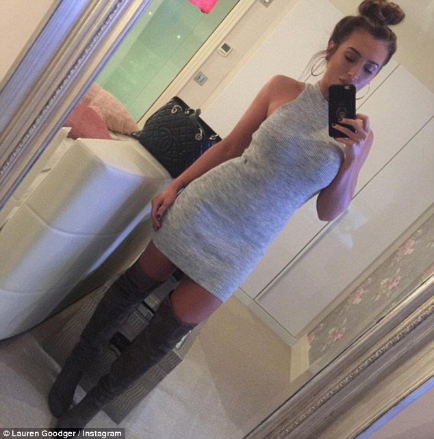 Essex beauty: Lauren Goodger, 29, flaunted her new slimmed-down shape in a Instagram picture she posted on Saturday