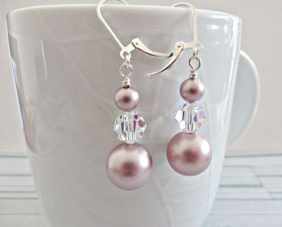 Rose pearl earrings Pink pearl earrings Swarovski by AllthingsBAB