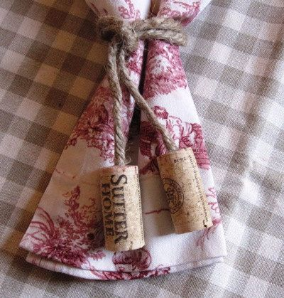 Wine Cork Napkin Tie - Jute Napkin Tie with Wine Cork Embellishment.  Perfect rustic accent for your next wine party or wine dinner.