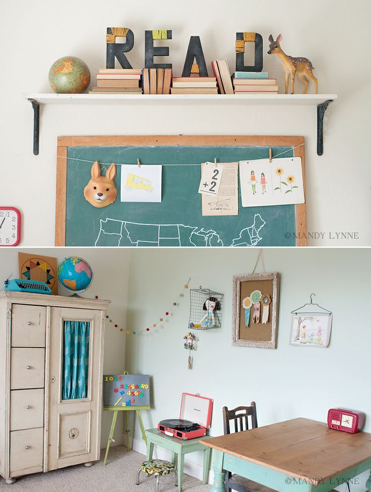Love this homeschool room / playroom. An awesome vintage vibe full of places to learn and play!