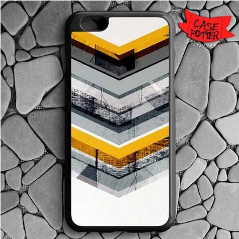 Yellow Grey Chevron iPhone 6 Plus iPhone 6S Plus Black Case