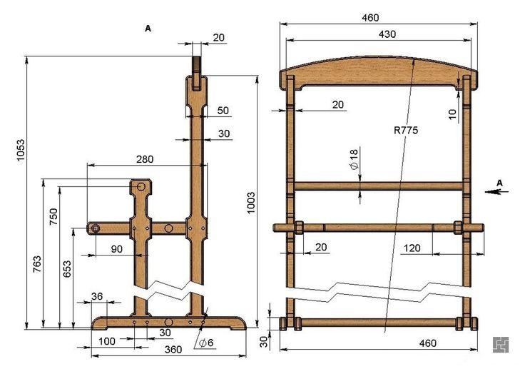 Напольная вешалка из дерева чертеж