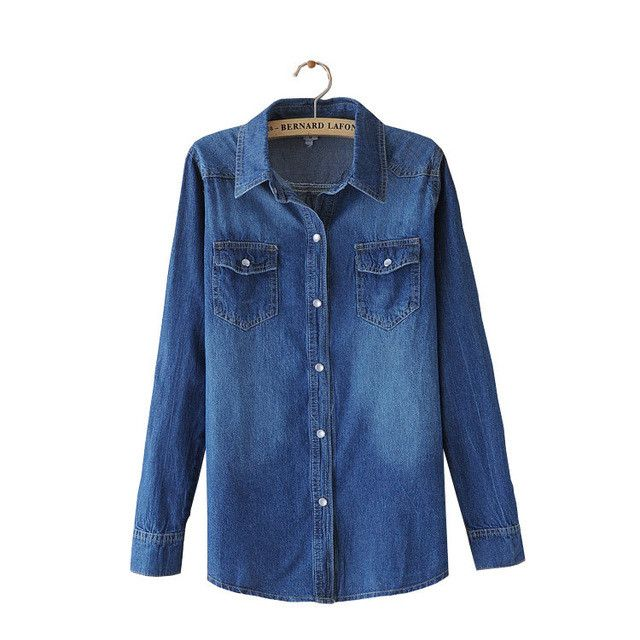 Ladies Denim Shirts Tops Long Sleeve Blue Jeans