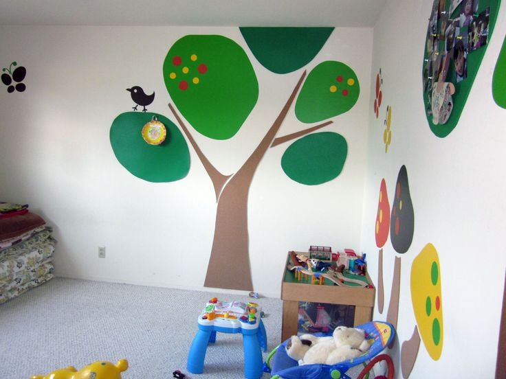 Baby Nursery, Tree Kid Bedroom Painting Wall Design Idea Yellow Fabric Kid  Bed Set White Part 96