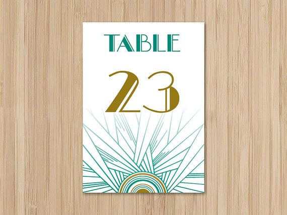 Instant Download Jazz Age Art Deco Table Numbers 126 by merrymint, $15.00