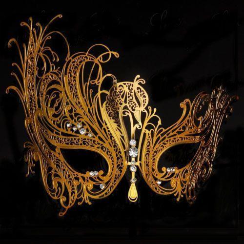 Phantom of the Opera GOLD Metal Masquerade Mask GOLD Metal with Rhinestones Venetian Masquerade Mardi Gras Party Ball MASK A23