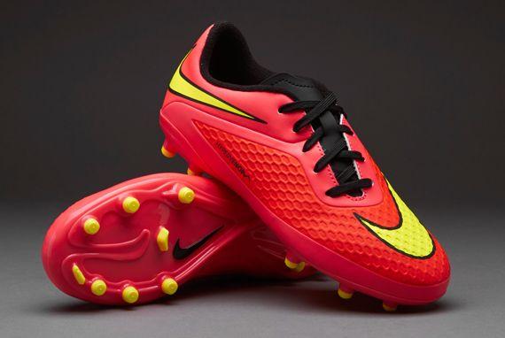 Nike Junior Football Boots - Nike Hypervenom Jnr Phelon FG - Firm Ground - Kids Soccer Cleats - Bright Crimson-Volt-Hyper Punch-Black