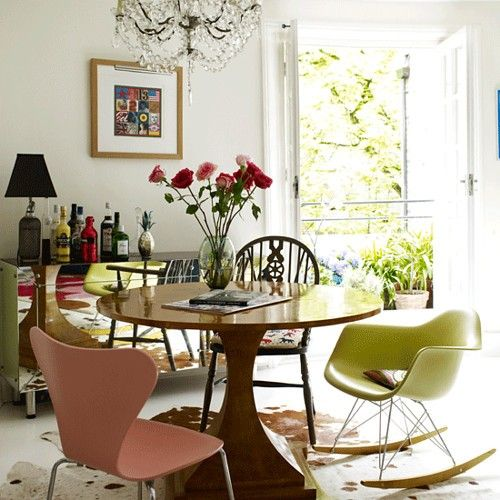 Like This Space From Living Etc Which Is Grown Up But Fun At The Same Time Round Table Mismatched Chairs And Chandelier Give It An Eclectic Feeling