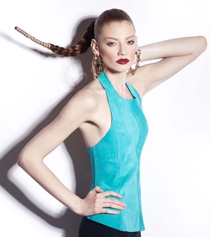 #Manokhi turquoise suede leather top with open back available online now also in black,yellow,white,red,nude,purple,blue and fuchsia on www.manokhi.com