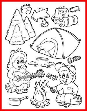 summer camping coloring page for kids