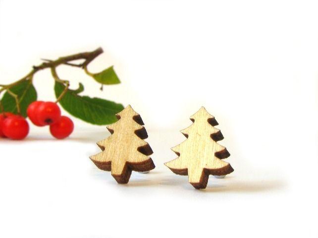 Tiny Wooden Tree Stud Earrings £8.00