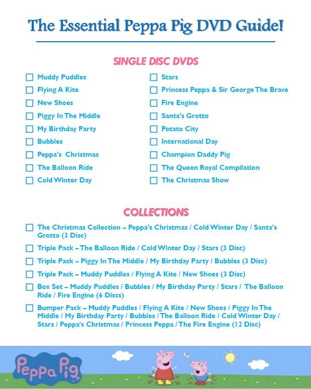 The Essential Peppa Pig DVD checklist - do you have them all?