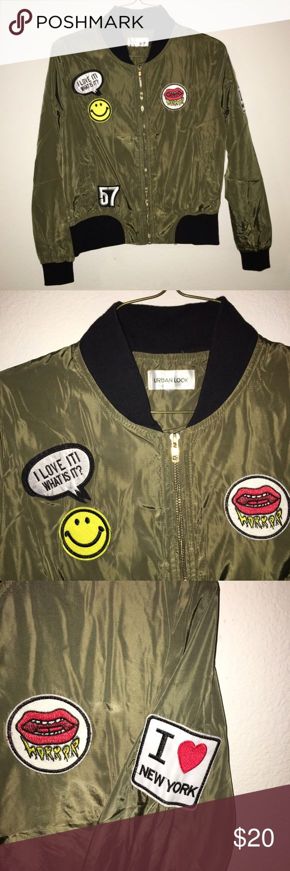 Women's Green Patched Bomber Jacket Women's bomber jacket size small, Urban look brand. Amazing condition! All perfect except some strings on the tag. (light weight!) Jackets & Coats Puffers