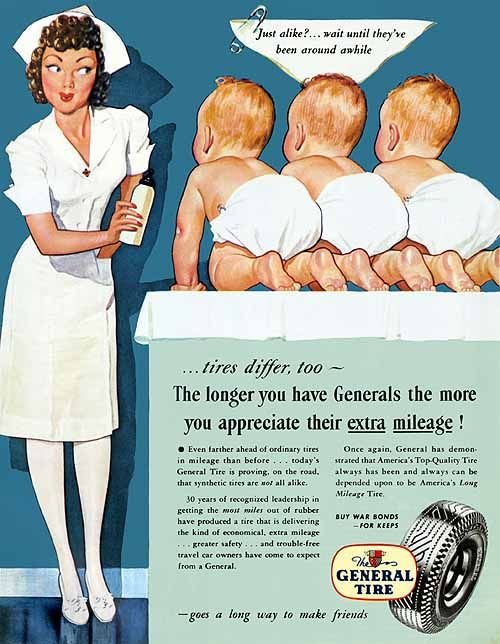 """General Tire (1945), illustrated by Dal Holcomb - """"Just alike? ... Wait until they've been around awhile"""""""