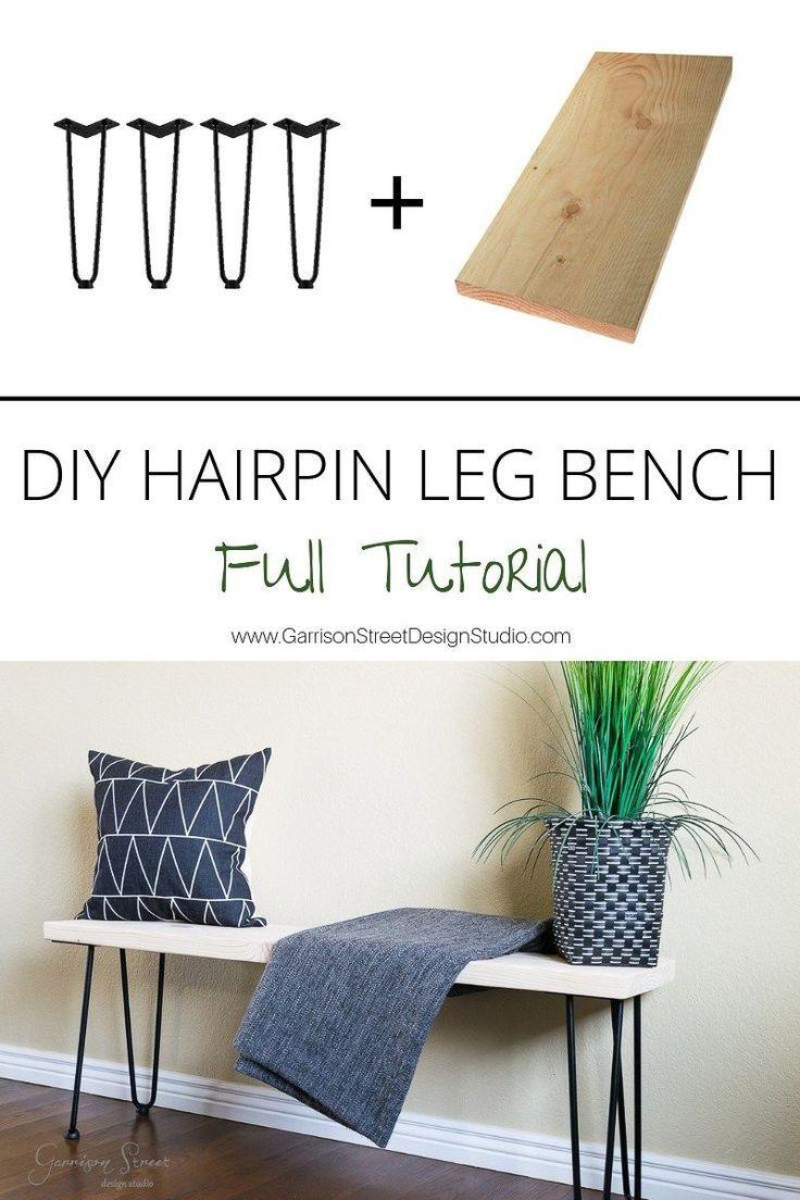DIY Hairpin Leg Bench ©️️GarrisonStreetDesignStudio