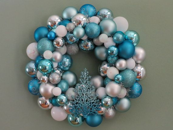 CHRISTMAS AQUA  WHITE Blue and Silver Ornament Wreath with Tree
