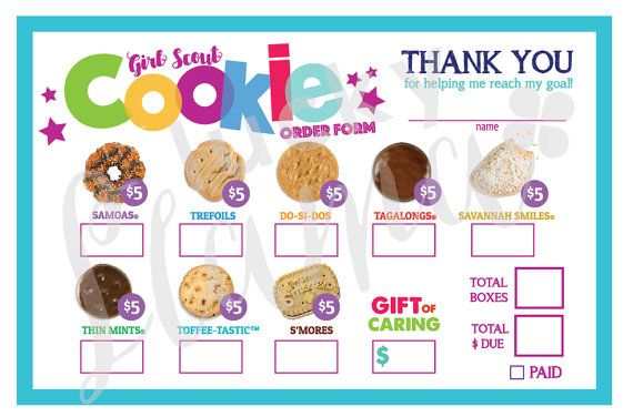 This is an excellent tool to help your Girl Scout achieve her cookie goal! Look professional and make it easier for your customers to order.  Listing is for one printable Girl Scout Cookie Order form design. You will receive a printable 8.5 x 11 with 2 order forms on one page for easier printing. You will receive your instant download following payment. Purchase, download one time and print as many times as you need. Design is not for resale or editable, used for cookie selling only. Note…