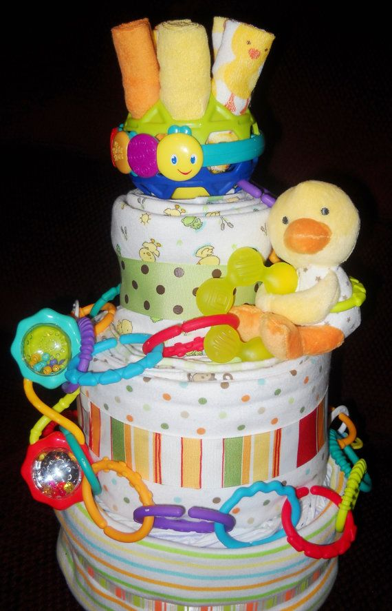 Ball of Fun Diaper Cake for Baby Shower by CushyCreations on Etsy