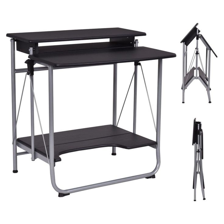 Costway Folding Computer Desk PC Laptop Writing Table Home Office Workstation Furniture, Black