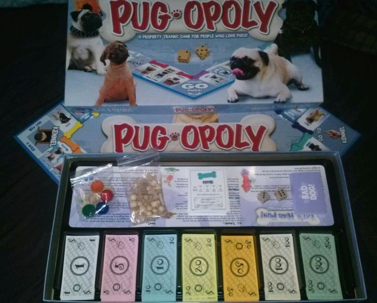 pug care game pug opoly monopoly board game dog lovers pugopoly 5344