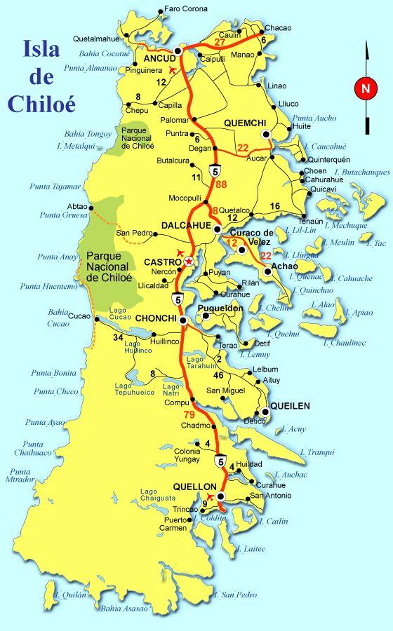 Mapa de Chiloe, Chile