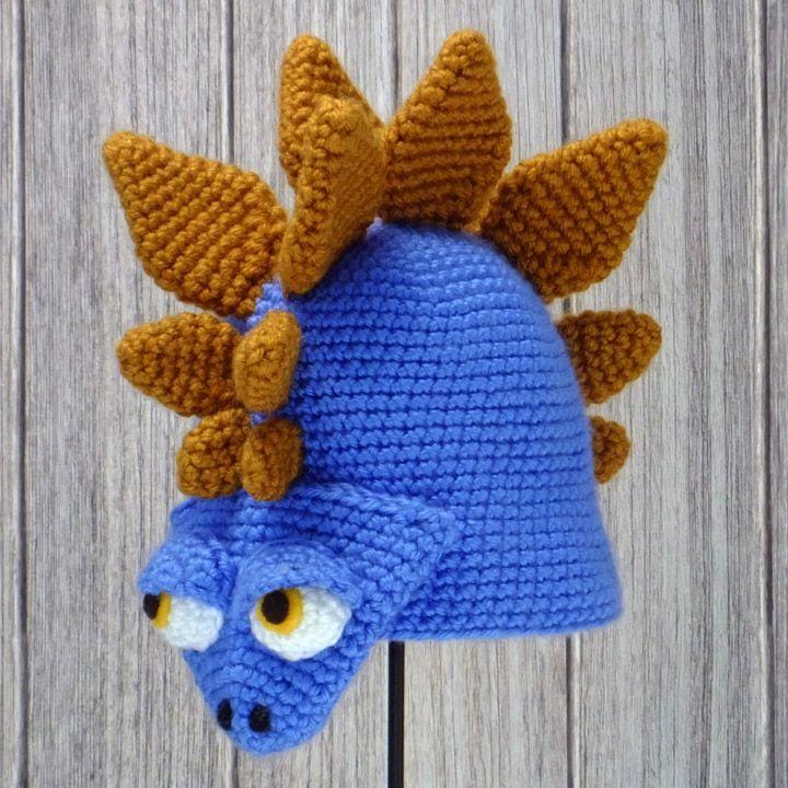 "STEGOSAURUS ~ Crocheted Animal Hat ♦ Pattern in ""Amigurumi Animal Hats"" by Linda Wright."