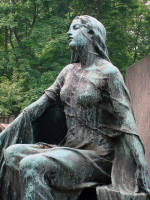 """""""Sorrow"""" (""""Douleur"""") and is in Montmartre Cemetery in Paris, at the tomb of Robert Didsbury, who died at 20 in 1910; it was sculpted by his mother, a well-known artist of her day."""