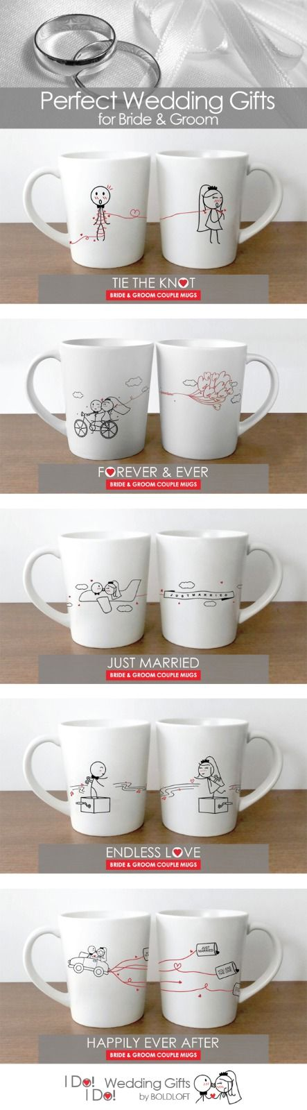 Help the newlyweds celebrate their day with our BOLDLOFT® I Do! I Do! wedding gifts for bride and groom. Our collection has cute, whimsical and joyful gifts for engagements, weddings, showers, bridal, bachelor and bachelorette parties. Couples pillowcases, his and hers mug and drinking glasses all celebrate and commemorate the happy day and couple.