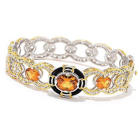 "169-932 - Gems en Vogue  6.40ctw Ametista  Madeira Citrine  6.75"" or 7.5""  Bangle Bracelet"