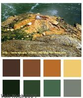 Color Palette - Yellowstone mineral deposits - Field Trips in Fiber - Adventures in quilting, hand dyed fabric and fiber art.