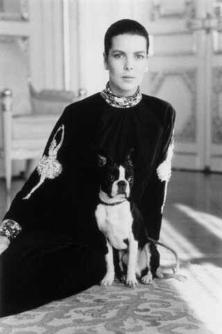 Princess Caroline of Monaco and friend. #dogs #pets #BostonTerriers Facebook.com/sodoggonefunny