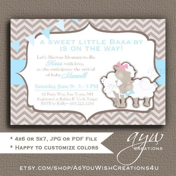 Sheep Baby Shower Boy Invitation Invitation Lamb Baby Shower Invitation Chevron Invitations Printable Baby Shower Lamb Invitations Blue
