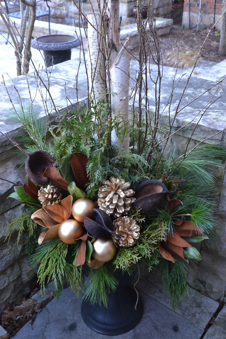 Browns and Gold in Christmas Urn