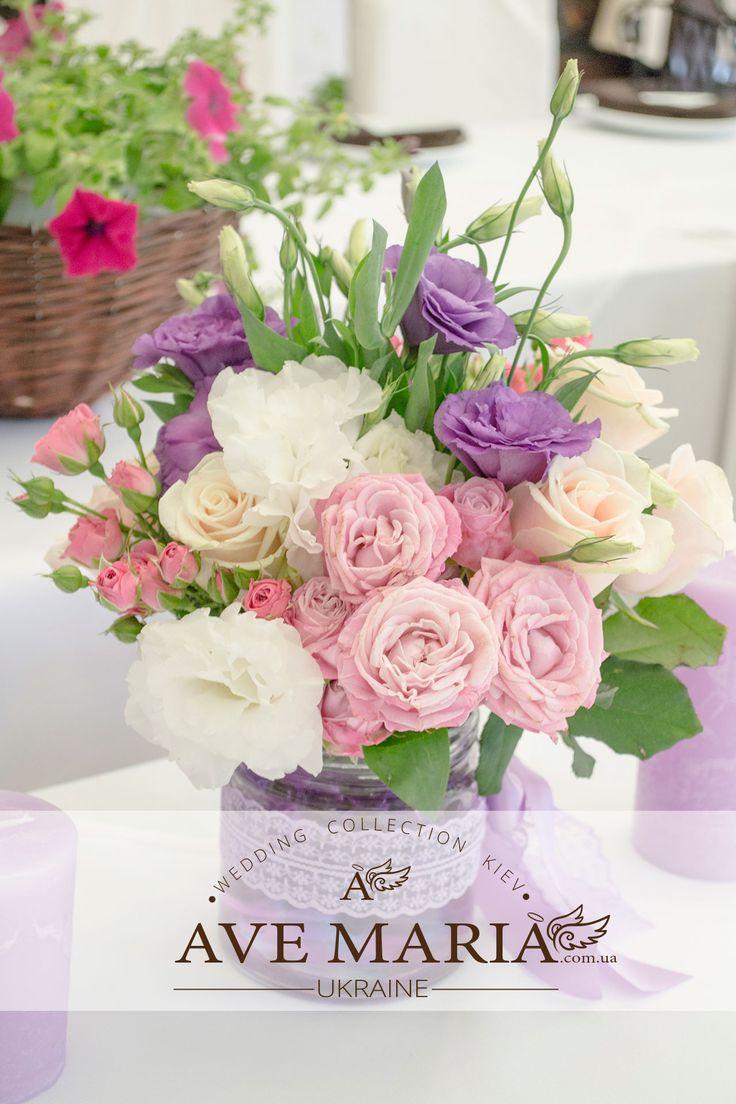 композиции на свадьбу, свадебные композиции, оформление зала на свадьбу, настольный свадебные композиции из живых цветов - салон декора Ave Maria