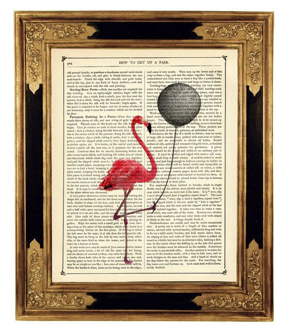 Pink Flamingo holding a black balloon - Vintage Victorian Book Page Art Print Steampunk