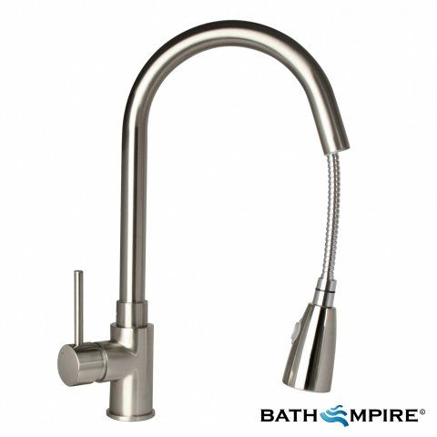 Tiffany Brushed Steel Kitchen Mixer Tap - Pull Out Spray - BathEmpire