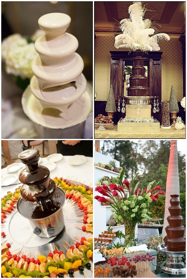 Fuentes de chocolate en las mesas de dulces   Chocolate fountains for your wedding dessert tables!