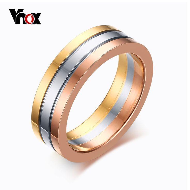 Vnox leuke vrouwen trouwringen 3 kleuren rvs 3 rijen band ringen voor vrouwen sieraden fashion spike ringen 6mm