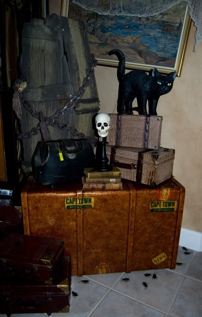 i like the idea of a big trunk can be cardboard if you dont have access to one there are great faux leather paint treatments - Cardboard Halloween Decorations