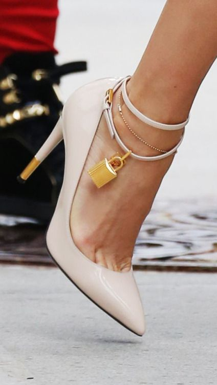Tom Ford ~ Nude Lock Ankle Pumps 2015